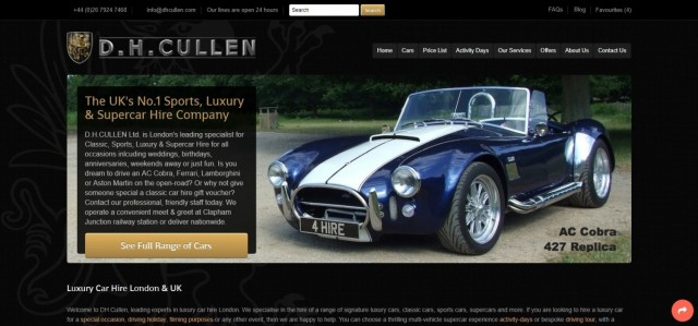 D.H.CULLEN Sports, Luxury & Supercar Hire