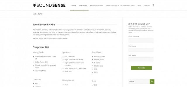 Sound Sense PA Hire & Recording Services